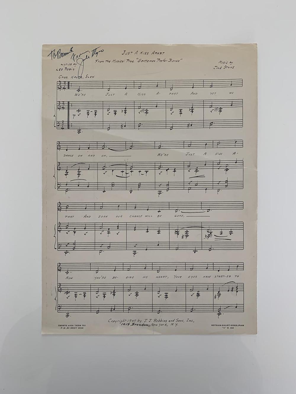 Just A Kiss Apart Jule Styne signed lyrics