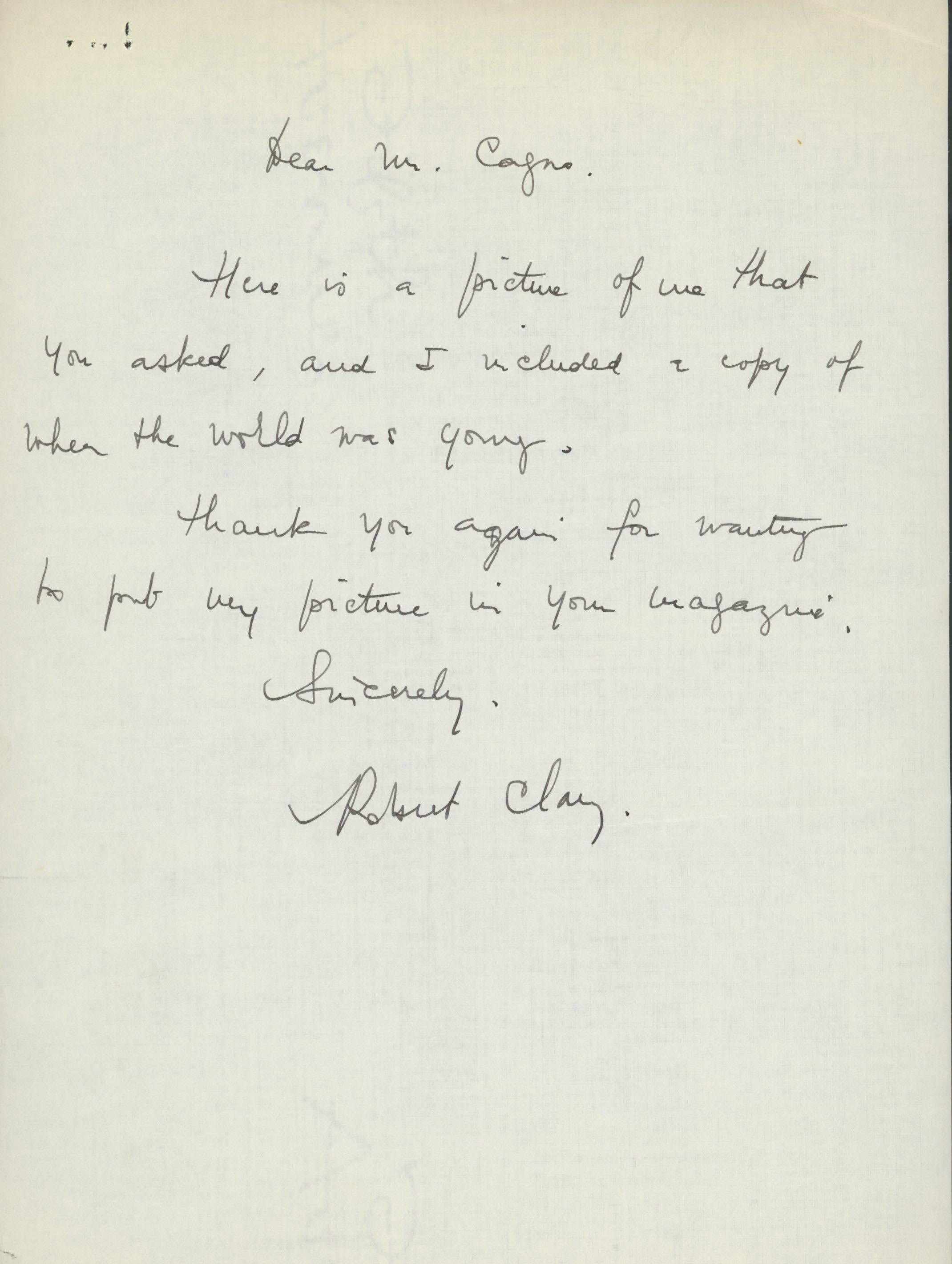 Robert Clary signed letter