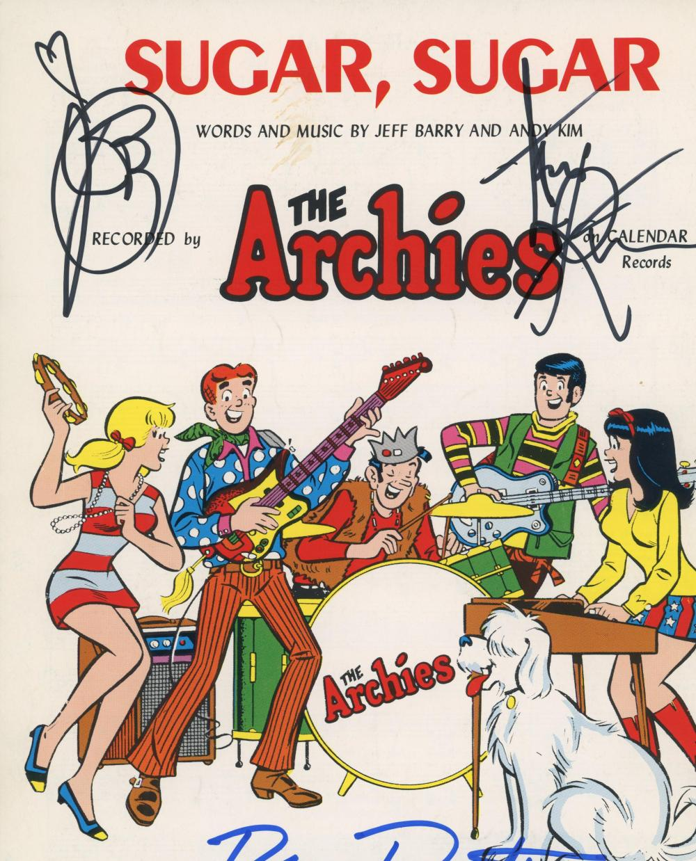 The Archies Sugar Sugar signed music sheet