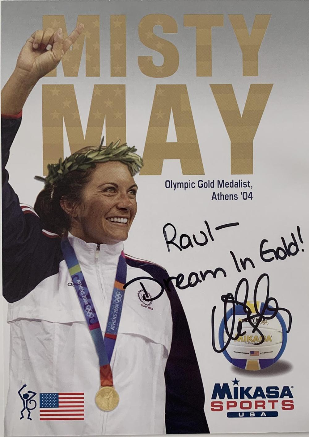 Misty May signed stat card