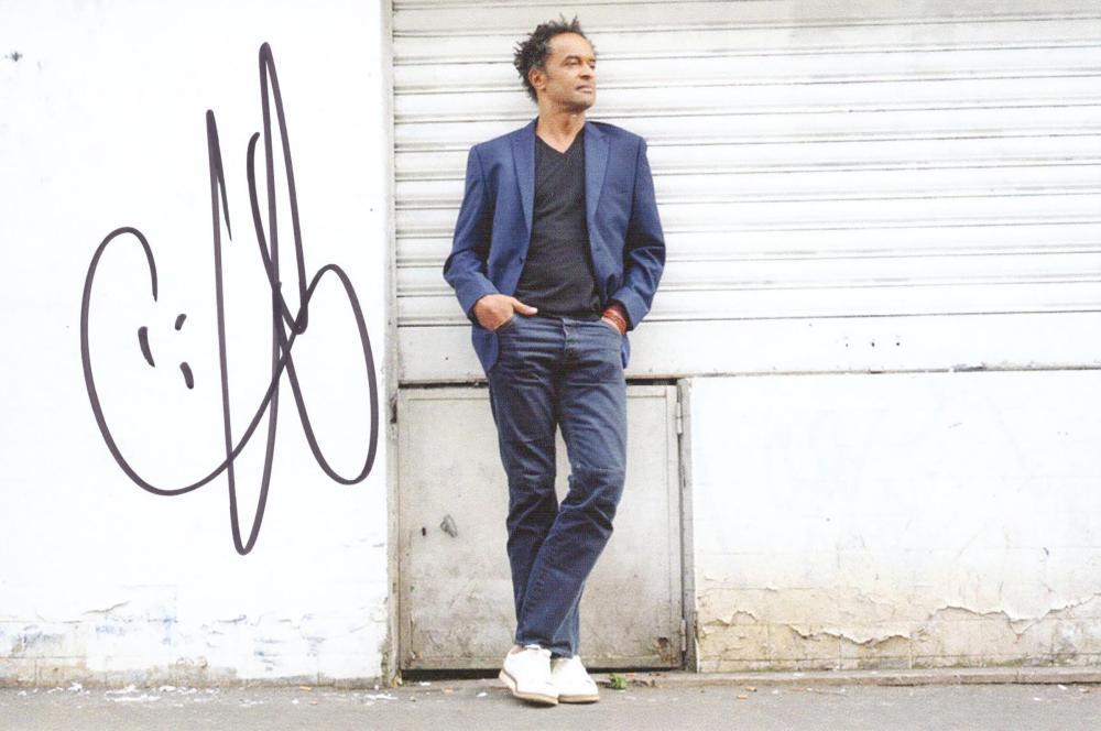 Tennis star Yannick Noah signed postcard