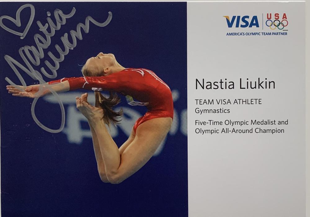 Nastia Liukin signed stat card