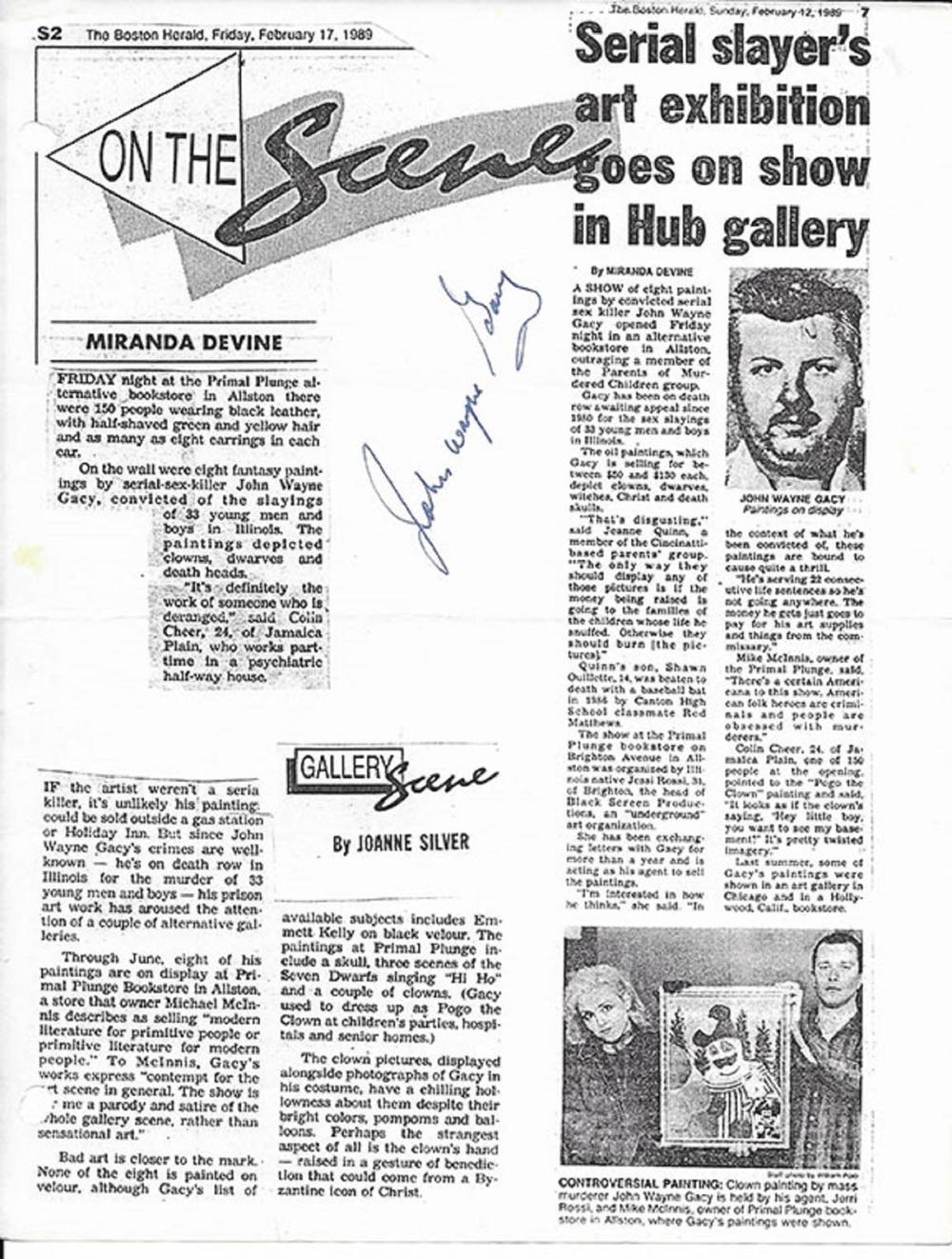 John Wayne Gacy signed article copy