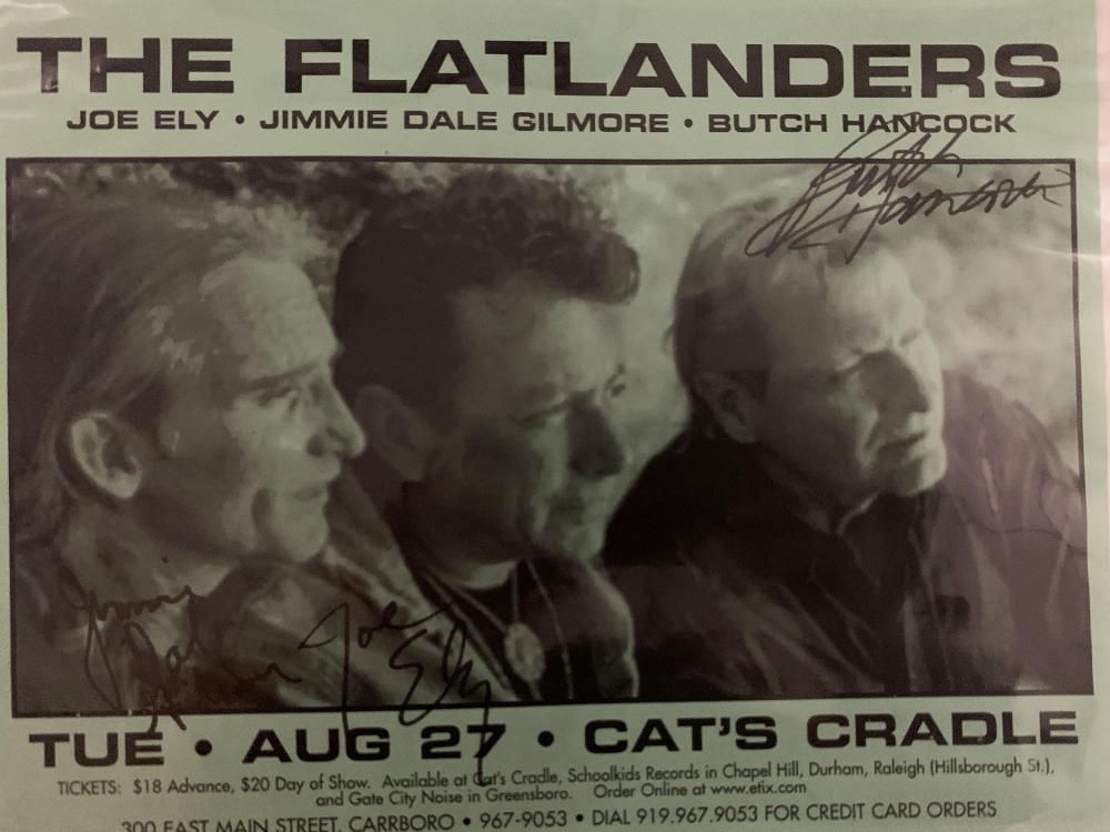 The Flatlanders signed concert flyer