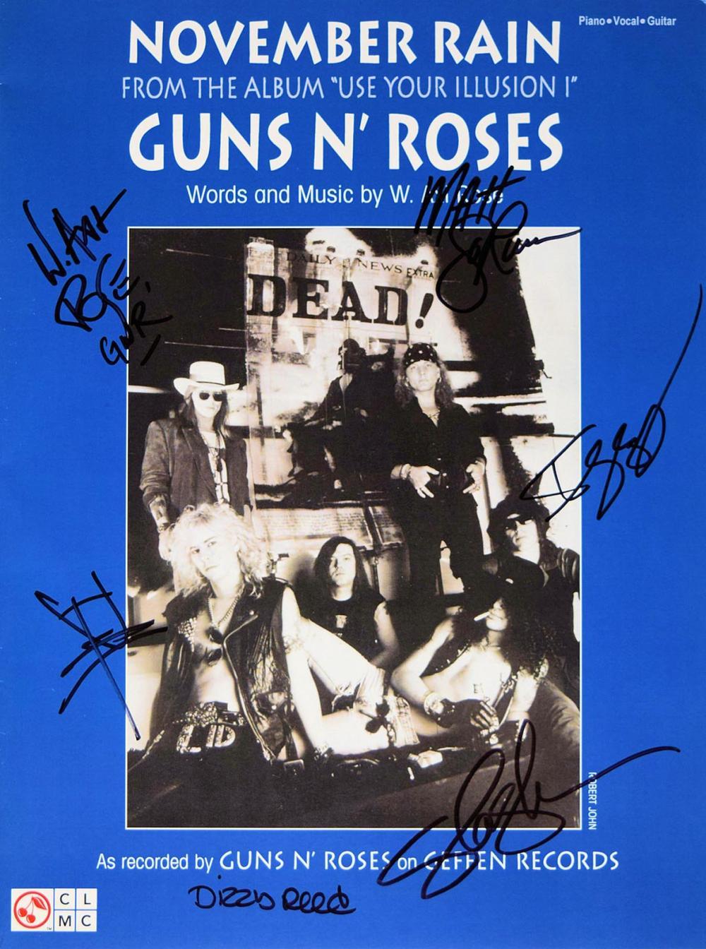Guns N' Roses signed sheet music