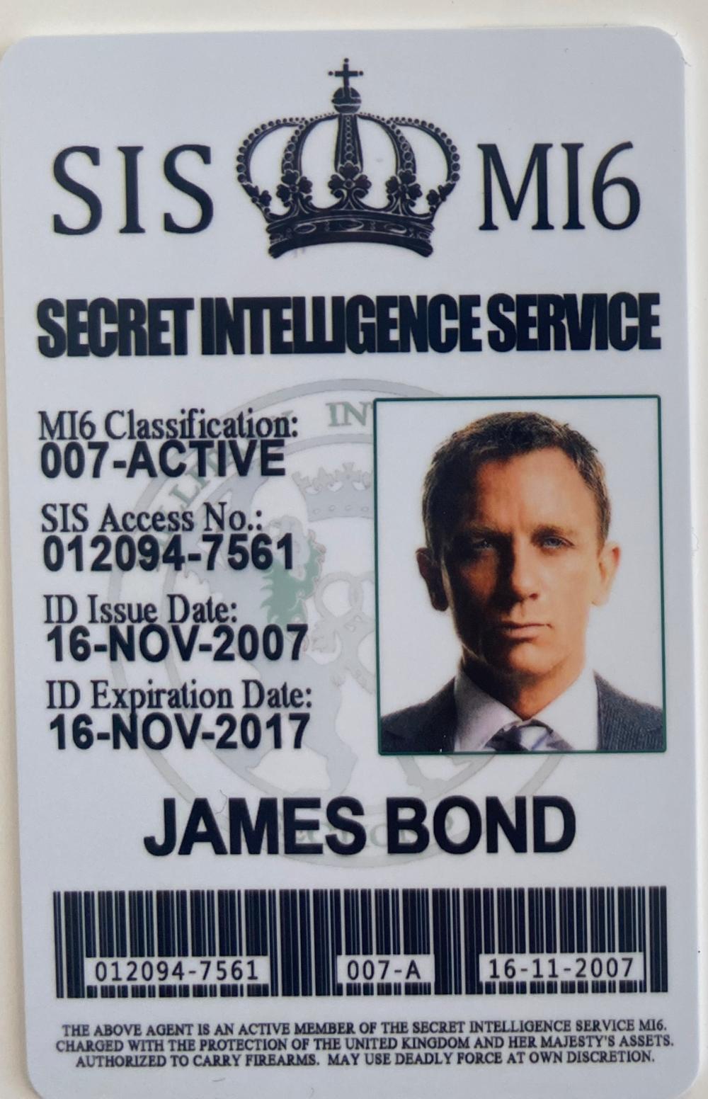 James Bond Casino Royale Secret Intelligence Service ID prop