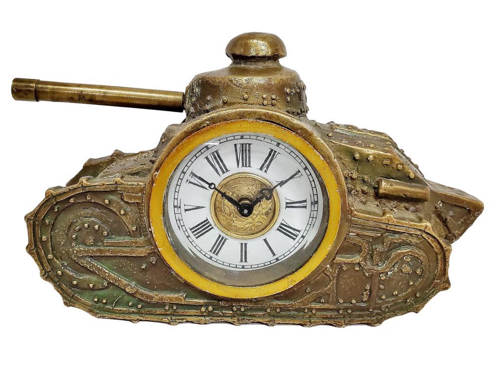 Antique Bronze Army Military Tank Artillery Heavy Deck Desk Clock