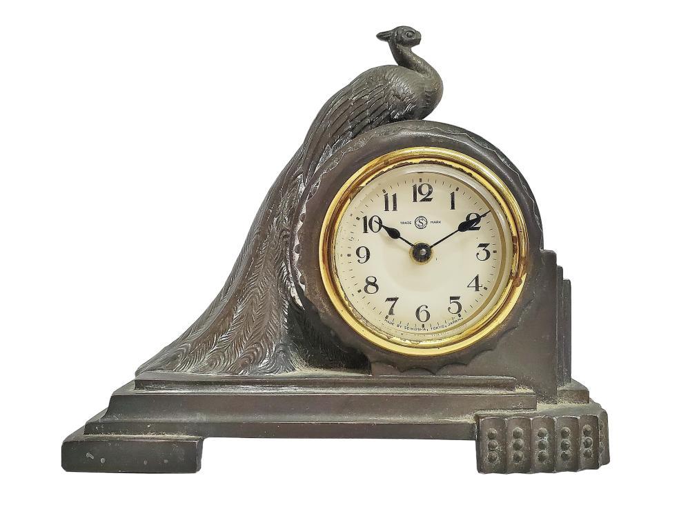 Vintage Seiko Seikosha Art Deco Bird Peacock Mantel Clock