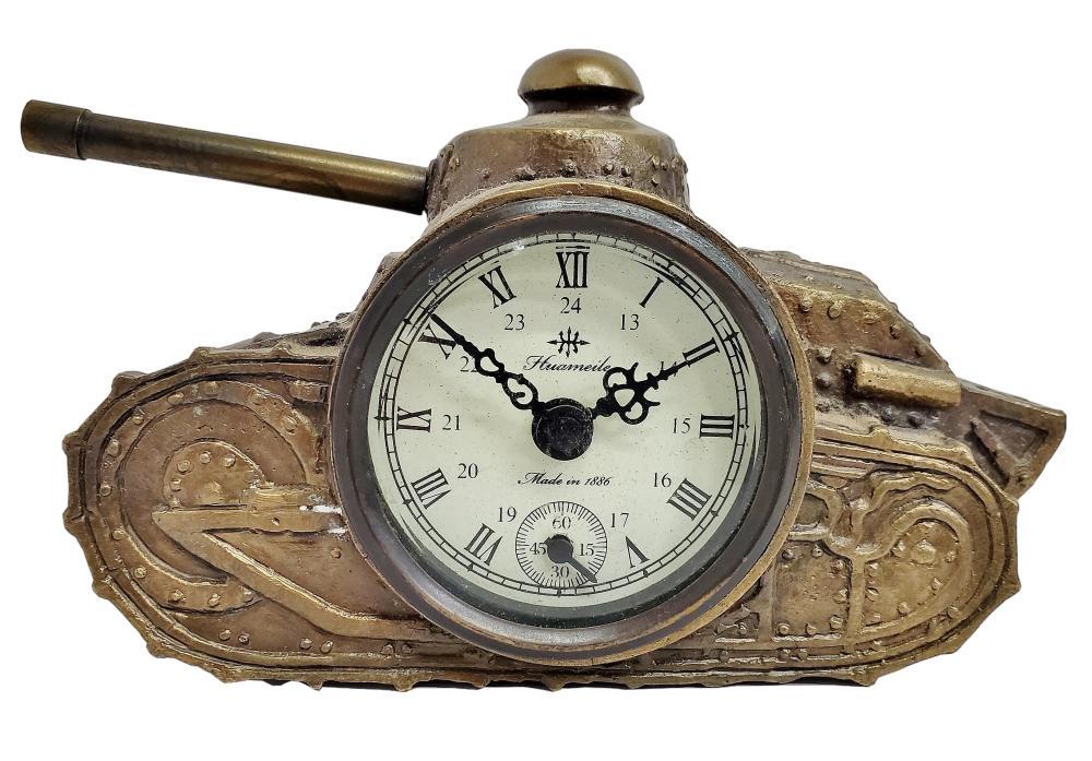 Vintage Antique Huameile Tank Bronze Desk Mantel Clock