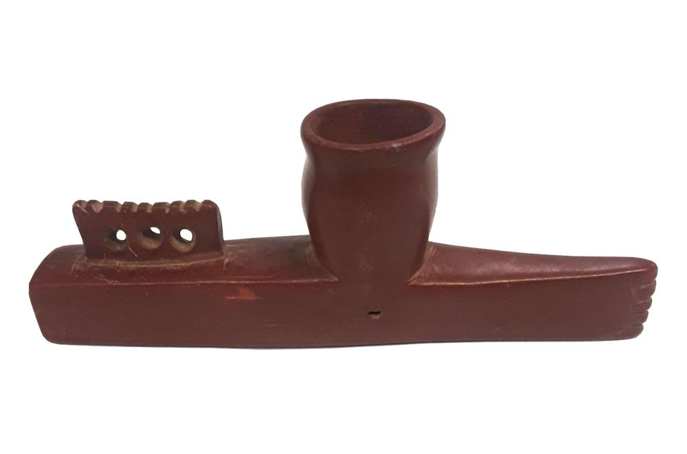 Antique Tapered Carved Catlinite Peace Pipe