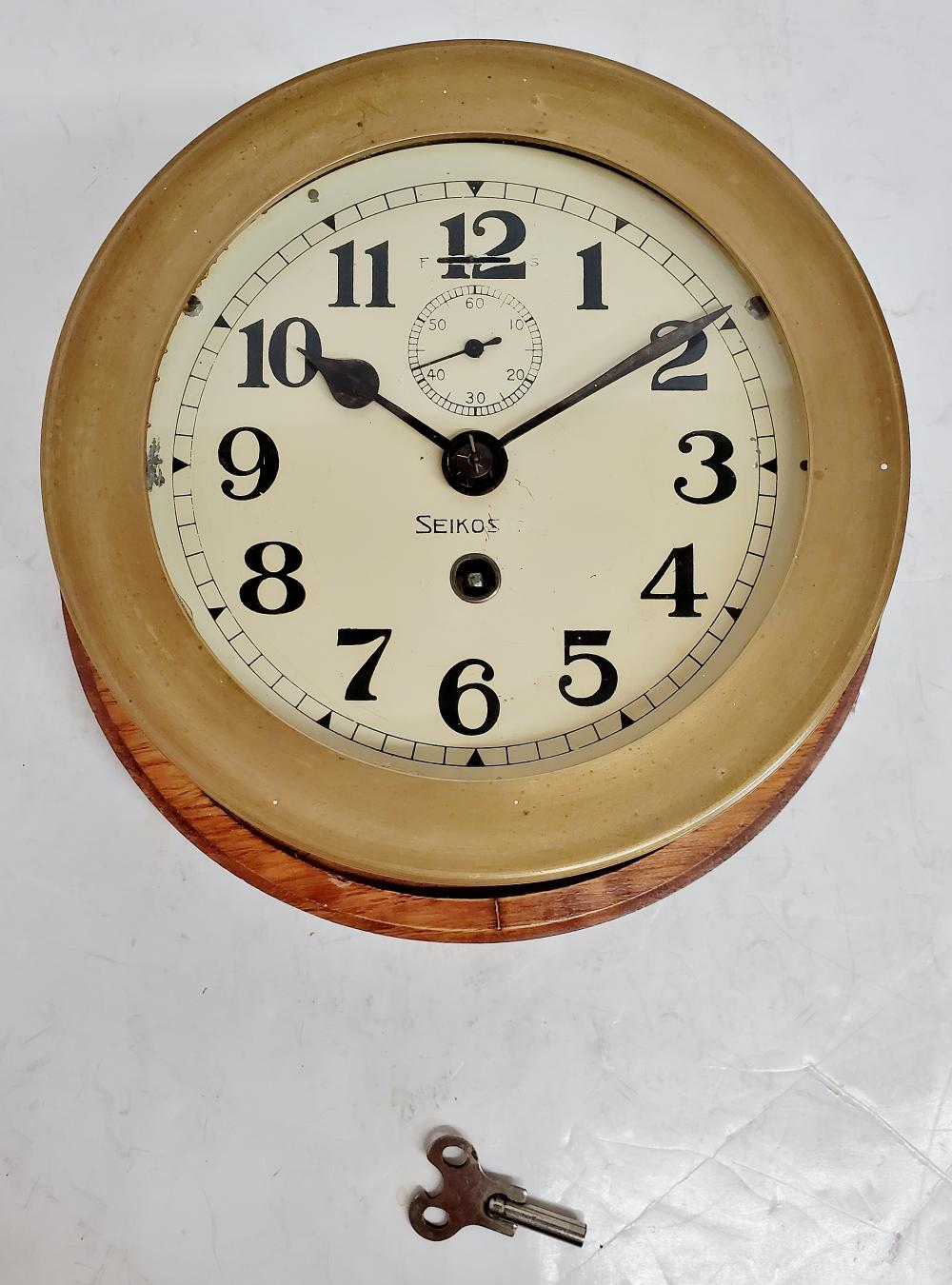 Vintage Brass Seikosha Ships Clock With Wooden Base