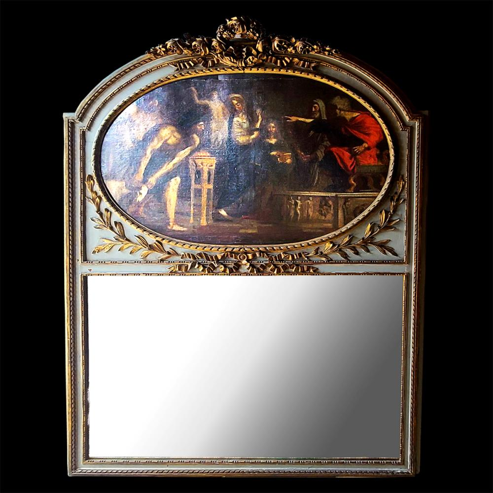 Large Old Master Painting Trumeau Mirror French Early 19c Major Estate
