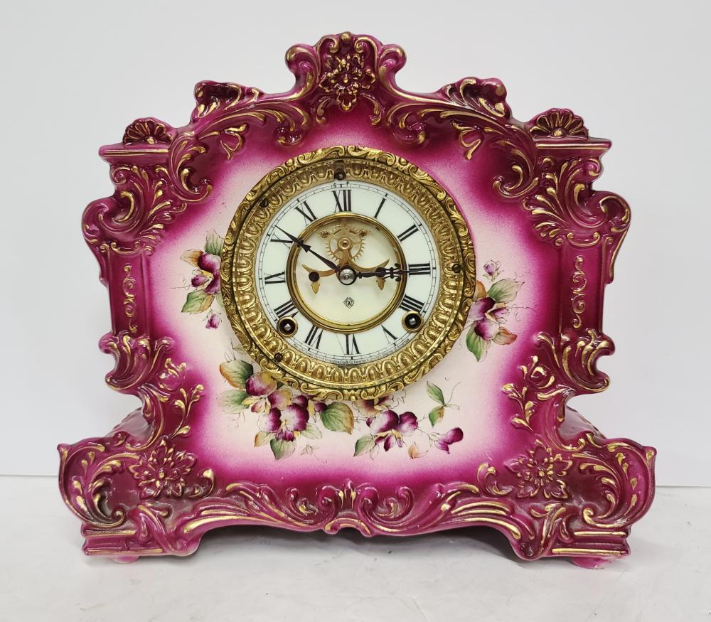 Antique Victorian Ansonia Clock Co Floral Pink Ceramic Record Design