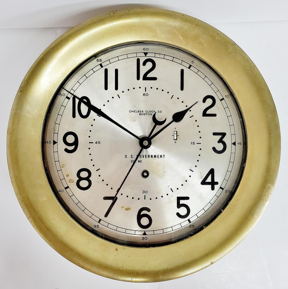 Large Rare 1950s Military Chelsea 8.5 Inch Brass Wall Clock