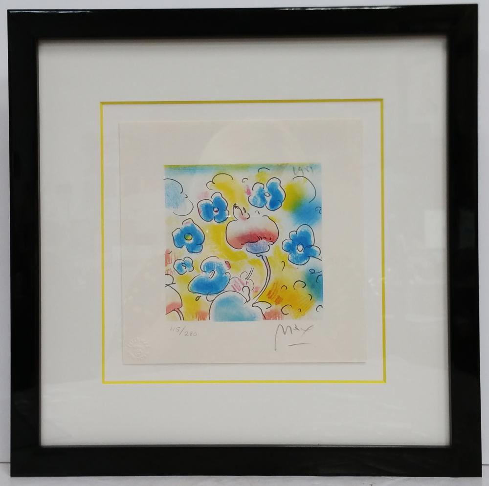 Peter Max 1981 Pencil Signed Spring Flower Lithograph with Certificate of Authenticity