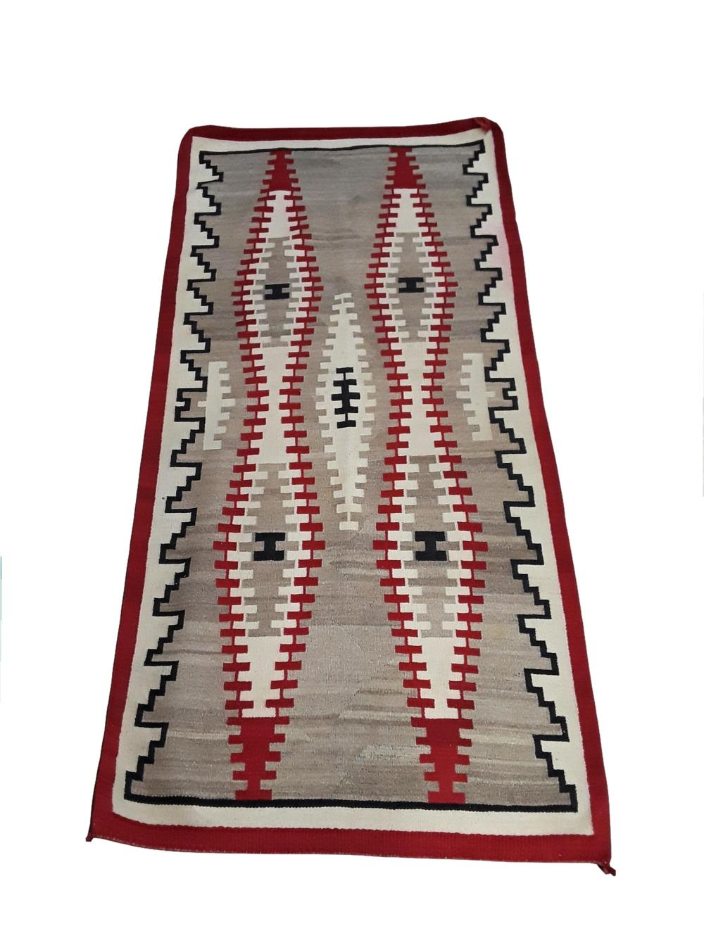 Large Vintage Navajo Dyed Wool Rug 84 x 41 Inches