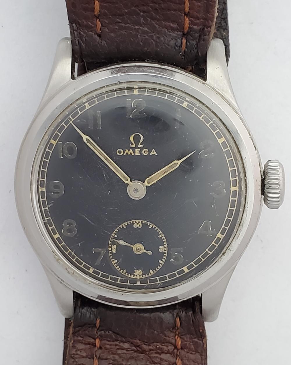 Scarce Omega Dienstuhr Black Dial 24h Military Wrist Watch