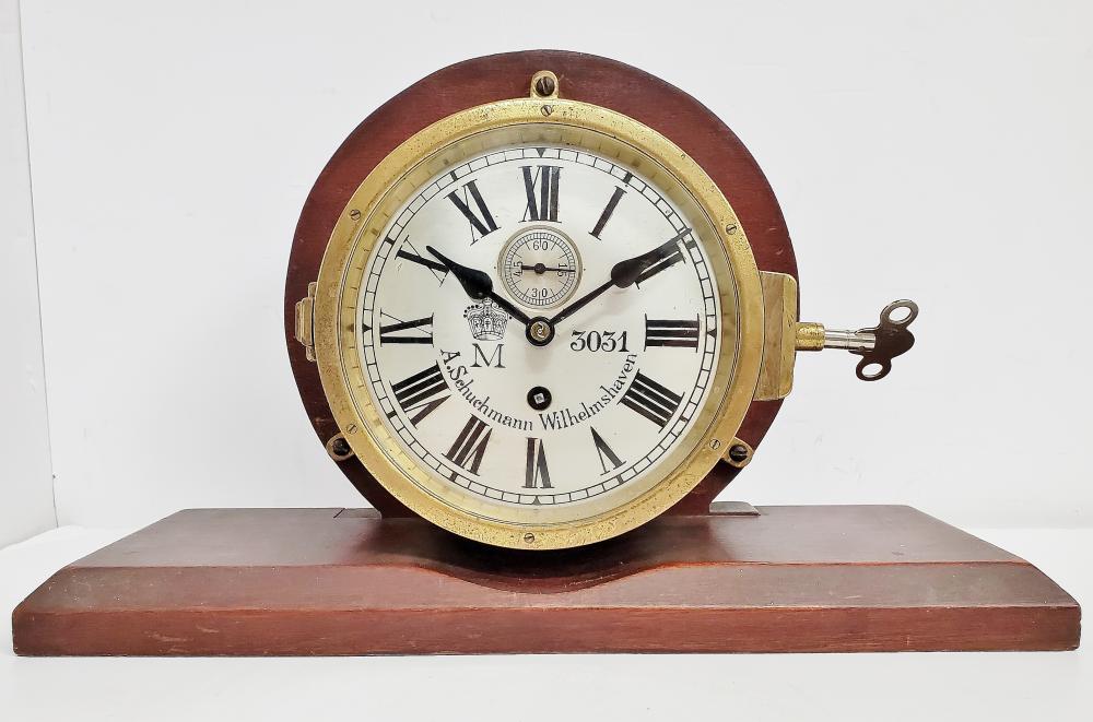 WWI Kaisermarine Schuchmann & Wilhelmshaven Ships Clock 8 Day Movt.
