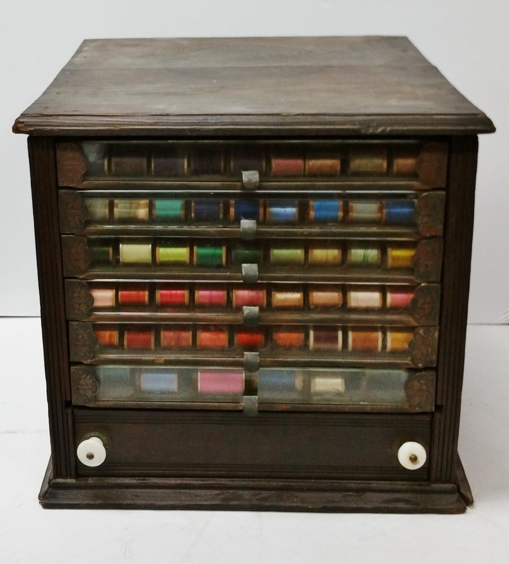 Antique 7 Drawer Spool Thread Sewing Cabinet