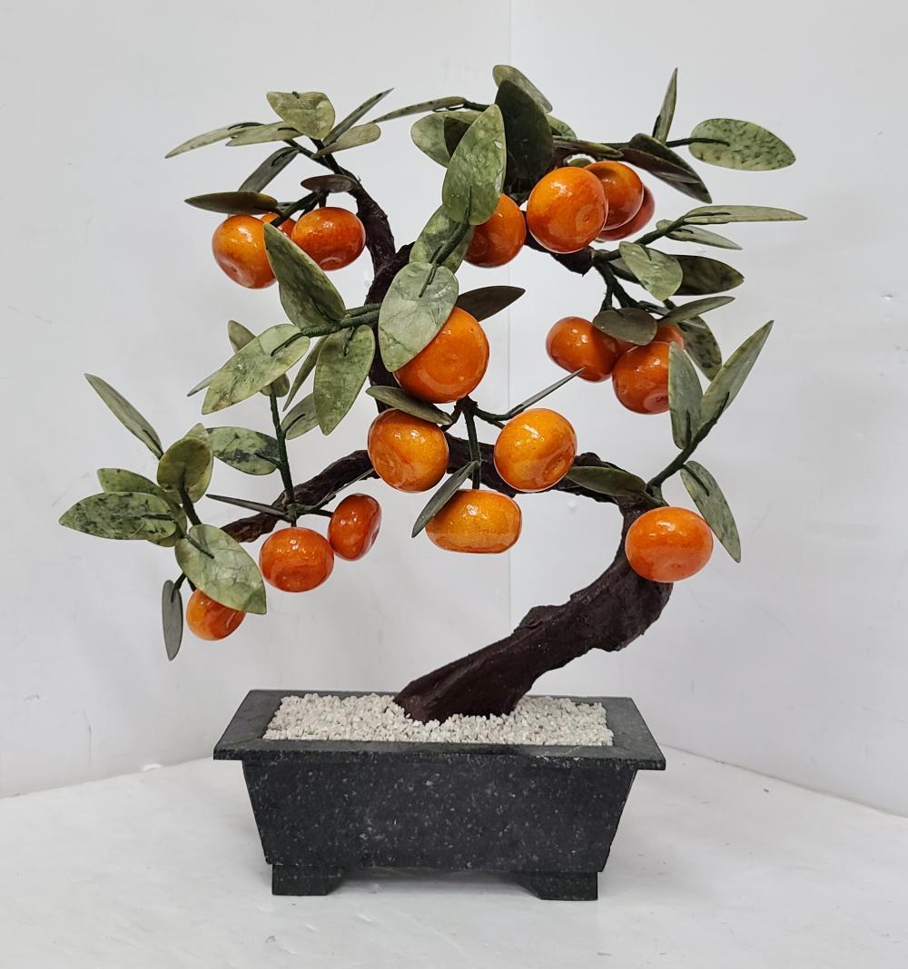 Large Vintage Hardstone Chinese Mandarin Orange Jade Tree