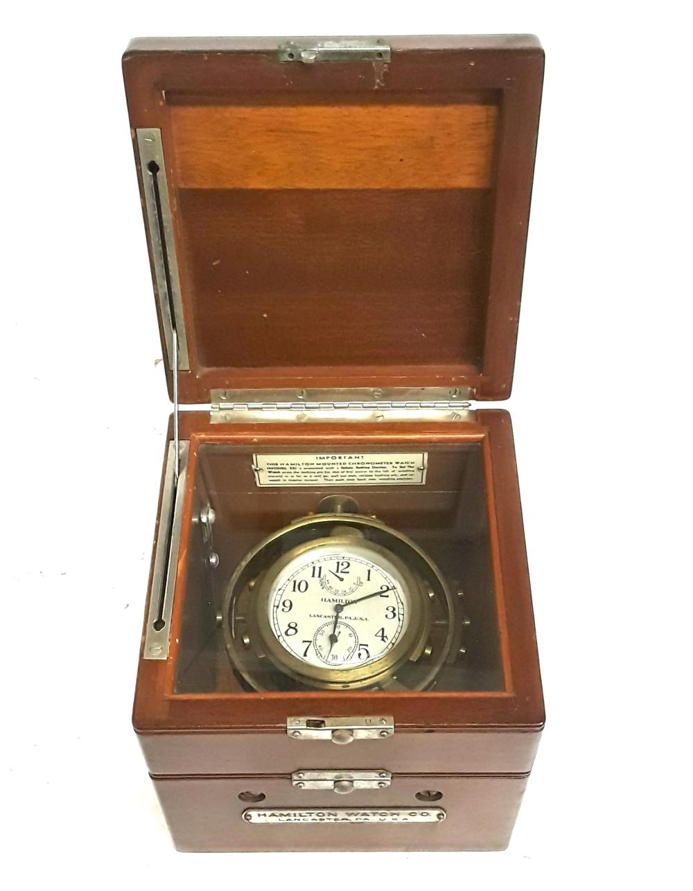 Hamilton Model 22 Double Boxed Gimbled Chronometer Ships Clock