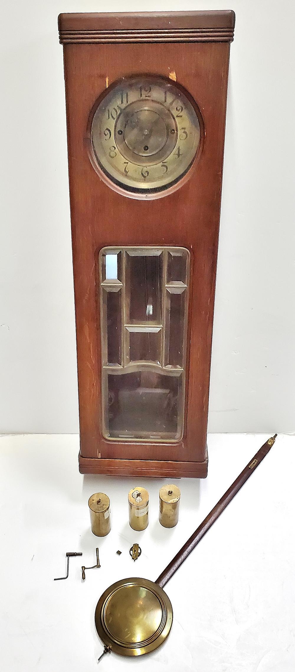 Vintage Long Pendulum Chiming Wall Clock To Repair Restore