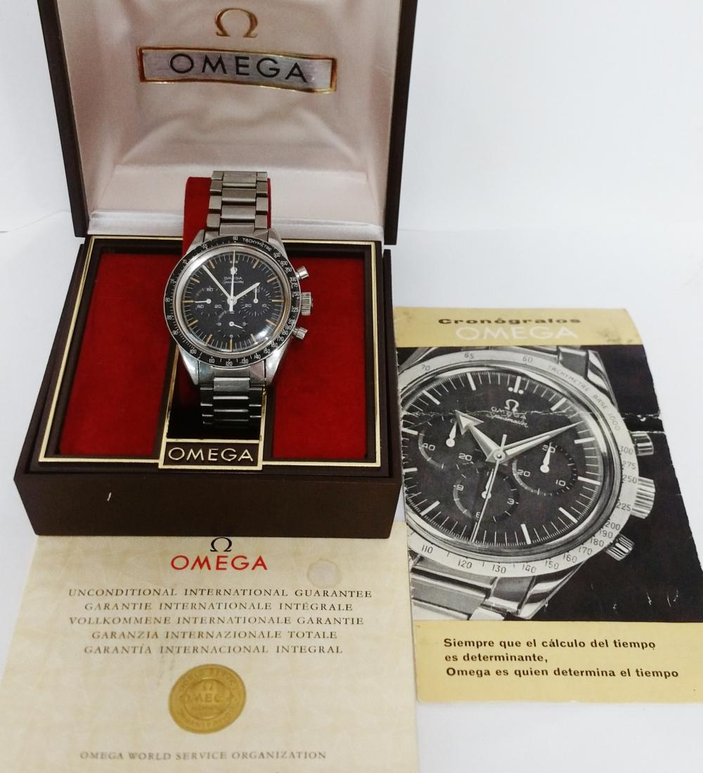 Scarce Omega Speedmaster Pre Moon Cal 321 2889-6 Chronograph Mens Watch Original Papers Booklets and Associated Box