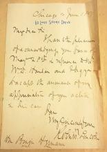 Robert Todd Lincoln Note to Binger Hermann June 1897 Reference to Harlan Case Chicago Signed Autographed Letter from Scrapbook