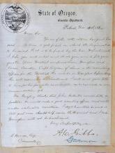 Original Civil War 1864 Letter 1st Oregon Volunteer Regiment from A.C. Gibbs Governor to Binger Hermann to Join Recruit Union Coos Lane Douglas County
