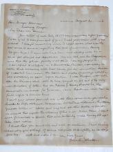 California 1918 Grove L. Johnson Handwritten Signed Autographed Letter to Binger Hermann under Taft 1918 Mention of Primary Evil Frances Heney