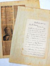 Confederate General Senator Wade Hampton Old Run Battle Black Hawk Confederacy to Binger Hermann Signed Autographed Letters Plea for Female Clerk and D.C. Dejarnette to Office with S.H. Hazard Letter