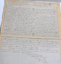 Handwritten Signed Autographed Letter from Judge Moses M. Granger Wequetonsing Michigan 1898 to Binger Hermann Concerning Original Spain France Land Claims Louisiana Purchase with Other Attached Lee Knight Charles Harvey Letters
