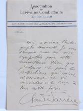 Claude Farrére Author Frédéric-Charles Bargone Exotic Novelist Istanbul Les Civilisés French Signed Autographed Letter on Association de Ecrivains Combattants de 1914 à 1918