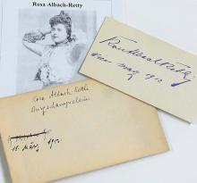 Rosa Albach-Retty Austrian Actress Movie Star Berlin Deutsches Lessing Theater Volkstheater Grandmother Romy Schneider Signed Autograph Note Card with Burgschauspielerin Envelope 1912