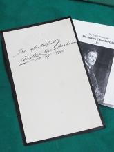 Sir Austen Chamberlain British England Statesman First Lord of the Admiralty Signed Autograph Royal Stationery 1936