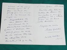 Pablos Casals Spain Cellist Bach Cello Suites Signed Autographed Handwritten 1910 Letter to Monsieur Salter