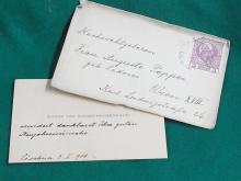 Marie von Ebner-Eschenbach Austrian Maria Stuart in Scotland Dokter Ritter Das Veilchen Baroness Personal Austria Note Signed Autographed Card Letter with 1908 Osterreich 3 Stamp