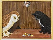 Well Signed Amos Shontz Widely Collected American Folk Artist Inscribed with Story Verso. Fantastic painting, adorable subject matter. The reverse of the painting has a short story that reads  inches The Owl and The Pussycat invited the mouse to