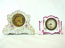 Pr Small Antique Gilt & Floral Porcelain Clocks Mantle Boudoir or Desk Royal Bonn Style by New Haven Clock Co & M.B.B. Mfg Co.