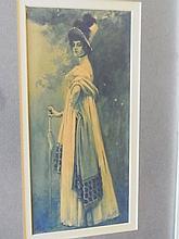 American School Ca 1900 Beaux Arts Belle Epoch Fin de Siecle Aristocratic Woman with Walking Stick Watercolor Painting