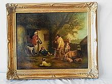 Orig 19C George Moreland Oil Painting The Warrener with related Engraving Accompanied by Henri Tiercet Galleries Provenance
