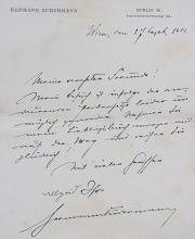 Rare Hermann Sudermann German Novelist Der Katzensteg  Zwielicht Frau Sorge Author Signed Letter
