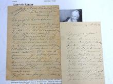 Gabriele Reuter Wilhelmine Era Ellen of Meadow Handwritten Signed Author Novelist German Letters