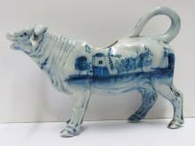 Antique Blue Delft Holland Cow Holstein Friesians Dutch Creamer 7 inch Handpainted Netherlands Porcelain Pitcher
