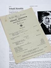 Yehudi Menuhin Violinist Conductor Autographed Signed 1940s Civic Music Association Vintage Symphony Concert Program