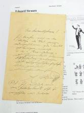 Eduard Strauss Musical Director Polka Schnell Doctrinen Johann Composer Hand Written Signed Autographed Concert List Letter