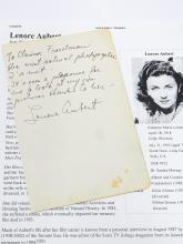 Lenore Aubert Actress Hollywood Austro Hungarian Slovenia Hand Written Signed to Photographer Note Autographed Letter