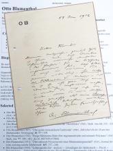 Otto Blumenthal Aachen University Professor Aerodynamic Czech Mathematician Original 1906 Signed Autograph Hand Written Letter