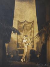 Silent Film Rare Image 1920s Photo by Irving Moe Rosenberg Romance Exotic Scene Original 9 x 7.5 inch Large Sepia Photograph