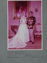 Rare Princess Grace Prince Albert Wedding April 1956 Original 5 x 7 inch Autographed Color Photograph with Provenance